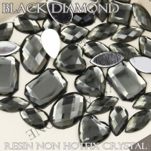 100Pcs/Lot Mix Sizes Shapes Black Diamond Big Rhinestones Acrylic Resin Non Hotfix Flat back Crystals for Wedding dress Stones
