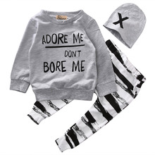 Newborn Baby Boy Girls Clothes Long Sleeve Tops +Long Pants Hat 3PCS Outfits Set
