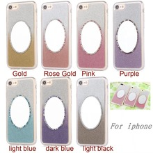 New Fashion Luxury Gradient Bling Soft TPU Back Case Cover w/ Resin Makeup Mirror for iPhone 4S 5S SE 5C 6 6S Plus 7 7 Plus