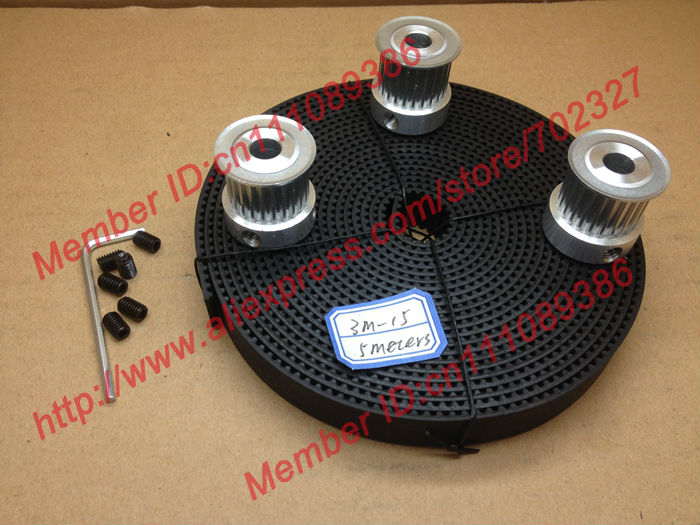 3pcs 24 teeth 3M Timing Pulley Bore 8mm + 5Meters HTD 3M open timing belt width 15mm for laser engraving CNC machines<br>