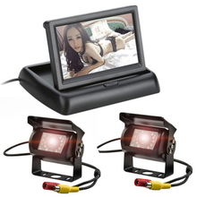 4.3 inch Foldable LCD Display Car Video Parking Monitor +12-24V Front View Rear View Night Vision Backup Bus Camera