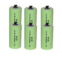 6PCS UNITEK Sub C sc 1.2V rechargeable battery 2200mah ni-mh nimh cell with welding tab pins for power tools,vacuum cleaner