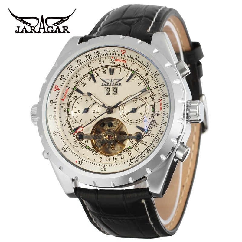 Photochromic Glass Silver Skeleton Dial Stainless Steel Bracelet Band Automatic Winding Mechanical Wrist Mens Watch<br>