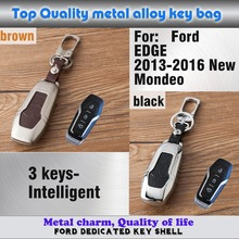 car cover leather+Zinc alloy Metal keys bag case key chain Wallet Intelligent frame part 1pcs for Ford EDGE/2013-2016 New M0NDE0(China)