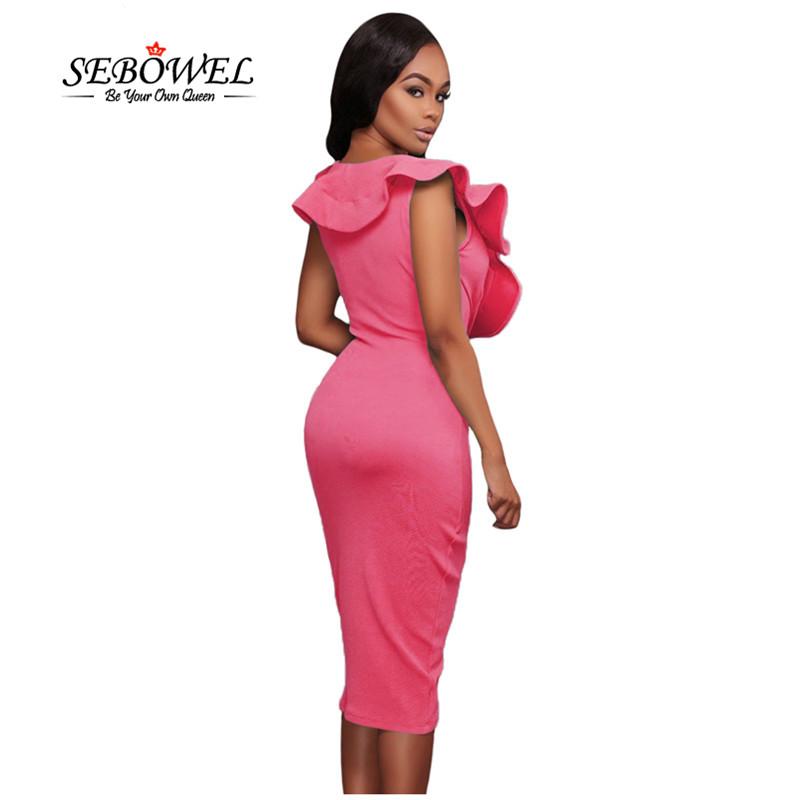 Rosy-Ruffle-V-Neck-Bodycon-Midi-Dress-LC61474-6-2_