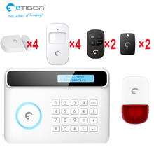 etiger IOS android app control anti-lost large screen display gsm dialer wireless home security alarm system