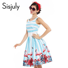 Sisjuly women pin up vintage dress floral print rockabilly bow belt dresses blue white stripe summer a line vintage dresses(China)