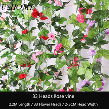 33 heads Artificial rose vine silk flower rattoos climbing flowers ring for home wedding car outdoor DIY hanging wall decoration(China)