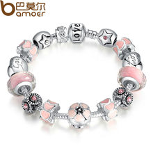 "Aliexpress Silver Color Flower Heart Start ""LOVE"" Warm Pink Girl Murano Beads Bracelet for New Year Gift PA1872"