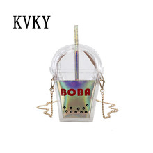 KVKYFashion summer beach bag Coke package laser color jelly clear plastic bag women handbag small flap transparent PVC sweet bag