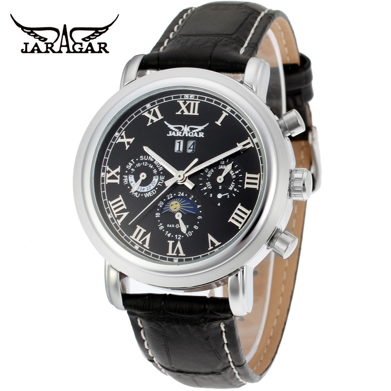 Moon Phase JARAGAR Men Luxury Brand Watch WhiteDial Leather Tourbillion Automatic Mechanical Wristwatch Gift Box Relogio Releges<br>