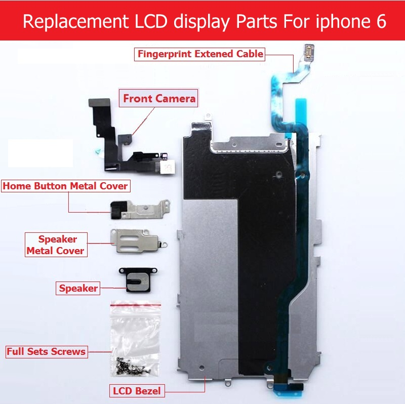 Full Set parts For Apple iPhone 6 6 plus LCD display Metal Bezel /Front camera /speaker /home button flex cable/ Screw/ Bracket