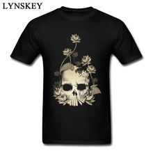 Beautiful Death Skull Print Men's T Shirts Flower Lotus Art Design Fashion Mens Tops Tees Cotton Clothes Soft(China)