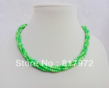 4 Rows 4mm Bead Apple Green Stone howlite Round Bead Multilayer Twined Handmade Necklace Woman jewelry Party charm(China)