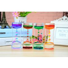 Floating Color Mix Illusion Liquid Oil Hourglass Timer Clock Motion Visual Slim Timer Liquid Ornament Desk Crafts Decoration P20