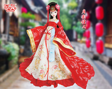 Free shipping 29CM Tang Dynasty bride doll Kurhn Doll Beautiful With Chinese fairy tale, costume princess. Joint Body Bobby doll