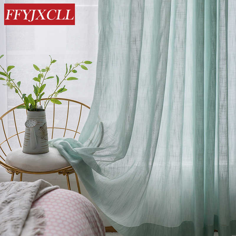 Cotton Linen Striped Tulle for Living Room Bedroom Kitchen Cafe Drapes Window Screening Sheer Voile Curtains Japan Style