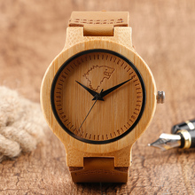 Unique Ice Skate Wolf Dial Hand-made Men's Wood Watch Brown Genuine Leather Band Nature Wooden Bamboo Wristwatch for Gift