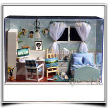 T005 Comfortable Boys Bedroom dollhouse miniature wooden doll house led light handmade model toys free shipping