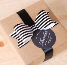 100pcs/lot Black and White Stripes Bow-Knot Candy bag gift box packaging decoration bowknot ornaments for Cake box packing