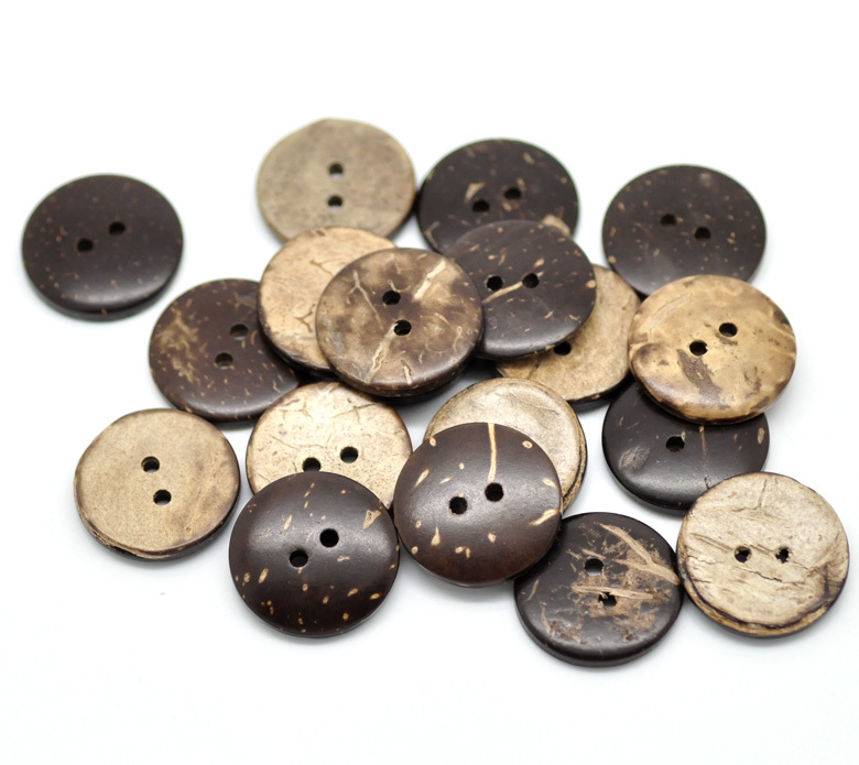 100pcs Coconut Shell 2 Holes Round Buttons Sewing Scrapbooking Craft 15//20mm Dia