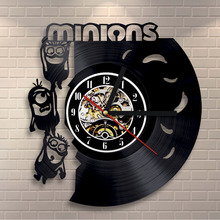 Free Shipping 1Piece Despicable Me Minions Wall Clock Vinyl Record LP Record Laser Cut Time Clock Cute Cartoon Decorative Clock