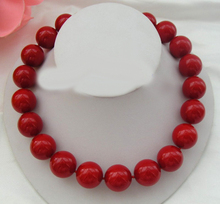 "Beautiful 20mm South red Shell Sea Pearl Necklace 18"" Birthday gift AAA style Fine Noble real Natural free shipping"