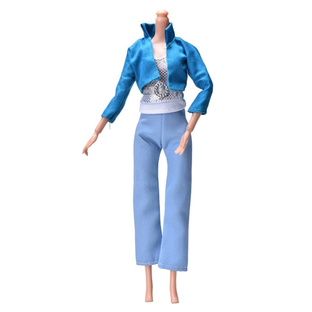Fashion Handmade Sporty 3pcs/set Blue Coat +Vest+ Light Blue Pants for Barbies Autumn Spring Doll Clothing