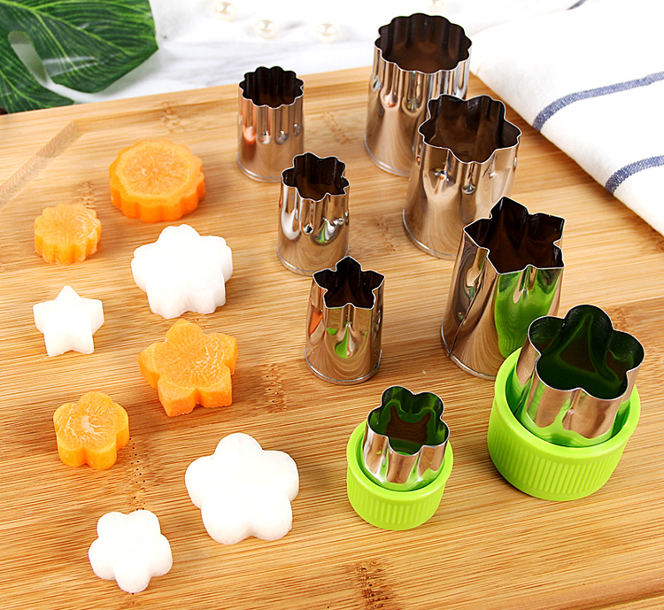 8pcs/Set Stainless Steel Puzzle Fruit Vegetable Cutter Kitchen Tools Mold Flower Shape Cookie Fondant Pastry Mould Accessories 7