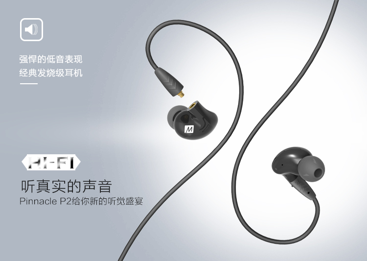 Newestl MEE Audio PINNACLE P2 High Fidelity Audiophile In-Ear Headphones with Detachable Cables HIFI Bass Noise Isolating Earbud
