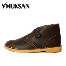 VMUKSAN Men's Boots Leather Shoes Classic Lace-Up Rubber Booties Beeswax Mens Desert Boot