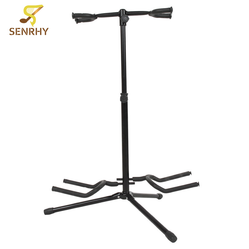 SENRHY New Musician Dual Double Acoustic Electric Guitar Bass Stand Bracket Straight Lightweight But Strong More Durable Hot<br>
