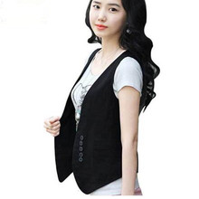 2017 Women's Wardrobe, waistcoat wholesale Women Slim cotton vest women,fake pocket,button,free shipping,#14040206