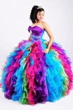 New Fashion Turquoise Colorful Rainbow Cheap Quinceanera Dresses 2016 For 15 Year Gowns Crystal Debutante Prom Dresses Cheap