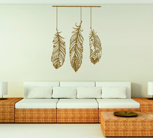 Wall Sticker Feather Wall Art Bedroom Living Room Interior Design Bohemian Tribal Wall Art Boho Dream Cather Wall Decal WW-15(China)