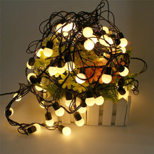 Outdoor 5M 50pcs Ball Led Christmas String Light Black Wire Fairy String Garland Globe Ball Wedding Lamps Decoration 110V 220V