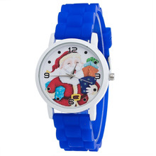 Christmas Gifts Women Watches Watch Cute Santa Claus Pattern Silicone Strap Wrist Clock Bayan Kol Saati Watch Montre Femme(China)