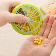 Lovely Green fruit shape Slot Medicine Case Medical Pill Box Drug Plastic Storage Box Round 7 Day Tablet Pill Newest