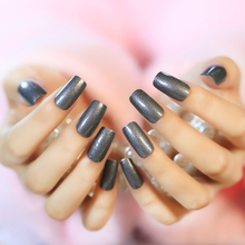 24 PCS Solid Milk Ash Long Artificial Nails Charming Acrylic Glitter Square Full Designed Fake Nails with Glue Sticker