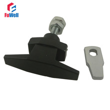 MS309-3-2 Metal Black Cabinet Lock with Handle Fit 1-4mmm Thickness Cupboard Cabinet Door Compression Type Plane Lock(China)