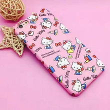 High Quality PU leather Cartoon Hello kitty Cases For iPhone 6 6s 6plus 6s plus Red Pink Hard Shell Covers Free Shipping