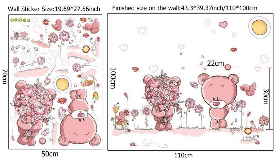 HTB13GvMeJHO8KJjSZFHq6zWJFXaD - Pink Cartoon Cat Rabbit Flower Wall Sticker For Baby Girls Kids Rooms