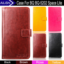 AiLiShi Factory Direct! Case For BQ BQ-5202 Space Lite Luxury PU Flip Leather Case New Cover Phone Bag Wallet Card Slot+Tracking(China)