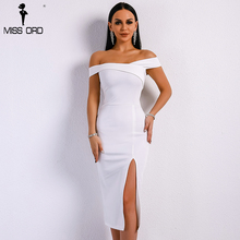 Missord 2018 Summer Sexy Off Shoulder Side Split Solid Color Backless Dresses Female Elegant Party Bodycon Dress FT9061(China)