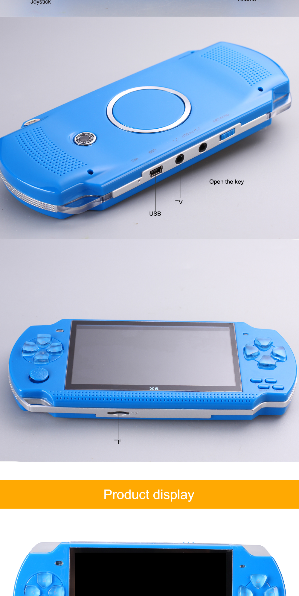 POWKIDDY Portable Handheld Game Players 8G 4.3 inch mp4 player Video Game Console Free Games Camera Recording Gaming Consoles