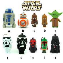 10 styles Star wars Pen drive  darth vader usb flash drive BB8 robot  flash memory stick R2D2 pendrive 4GB/8GB/16GB/32GB Yoda