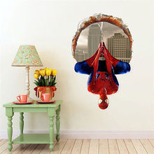 3D Vision Brokend Windows Spiderman Wall Sticker Boys Bedroom Decor Removable Vinyl Cartoon Spiderman Wall Stickers Home Decals