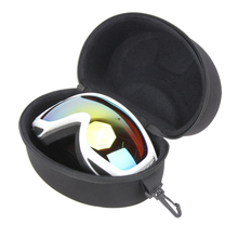 Portable EVA Ski Goggle Glasses Protector Case Glasses Box Sunglasses Zipper Storage Bag with Buckle Hook Black 20 x 11.5 x 11cm