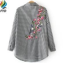 Blusas 2017 New Spring England Style Cotton Plaid Blouse Shirt Back Floral Embroidery Long Sleeve Shirts Casual Women Tops Z58