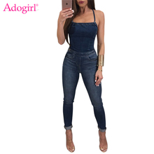 Buy Adogirl Women Jeans Jumpsuits Sexy Strapless Halter Bandage Backless Skinny Rompers High Quality Denim Jumpsuit Overalls Catsuit